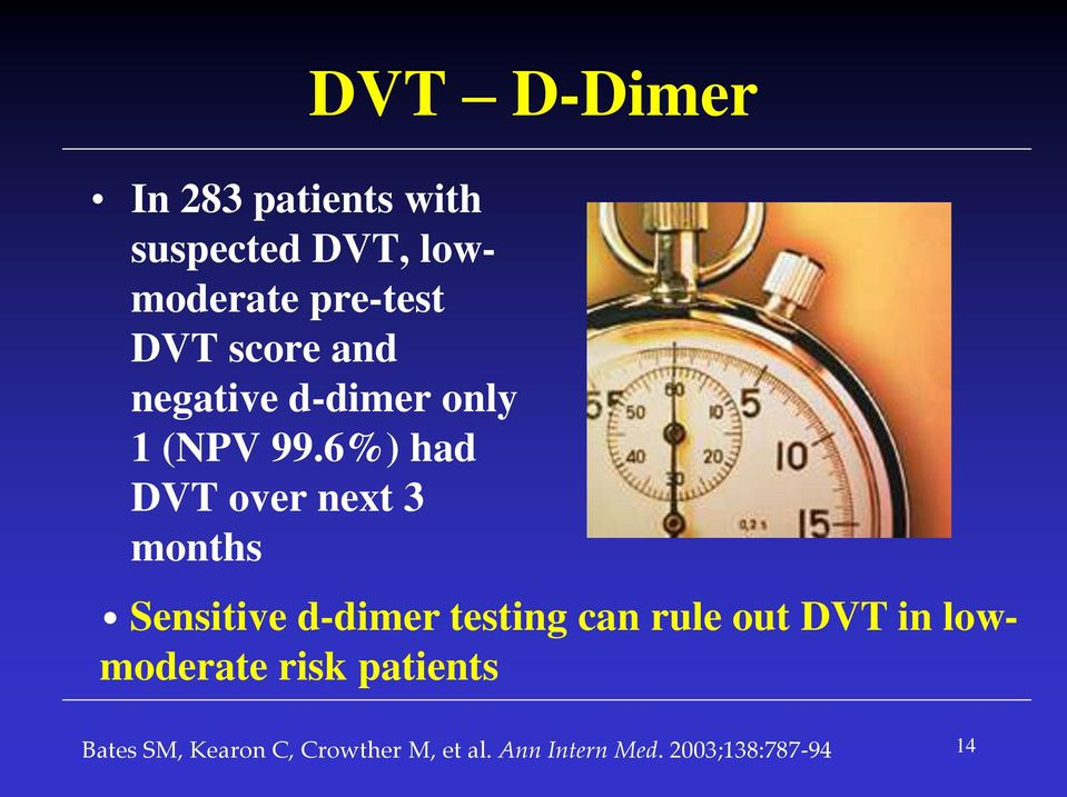 6%) had DVT over next 3 months DVT D-Dimer Sensitive d-dimer testing can