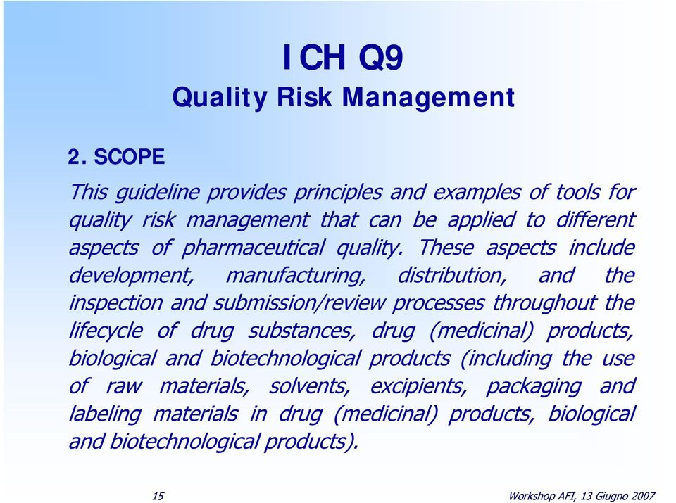 These aspects include development, manufacturing, distribution, and the inspection and submission/review processes throughout the lifecycle of drug