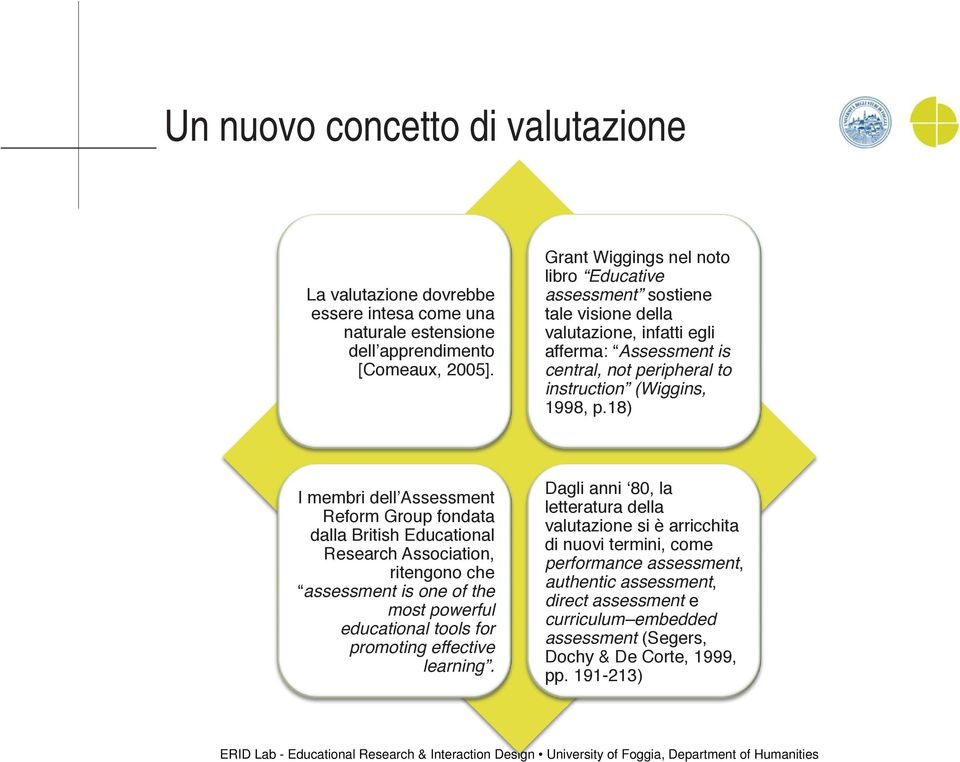 18) I membri dell'assessment Reform Group fondata dalla British Educational Research Association, ritengono che assessment is one of the most powerful educational tools for promoting