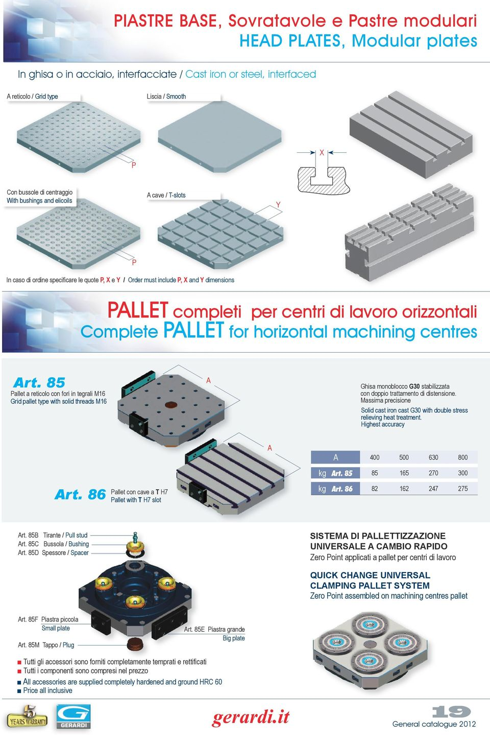 for horizontal machining centres rt. 85 Pallet a reticolo con fori in tegrali M16 Grid pallet type with solid threads M16 Ghisa monoblocco G30 stabilizzata con doppio trattamento di distensione.