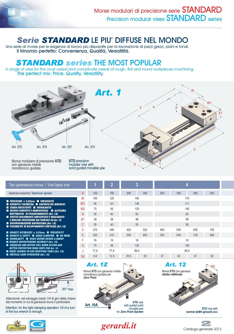 STNR series TE MOST POPULR range of vises for the most varied and complicate needs of rough, flat and round workpieces machining. The perfect mix: Price, Quality, Versatility. rt. 1 E 1 1 rt. 375 rt.