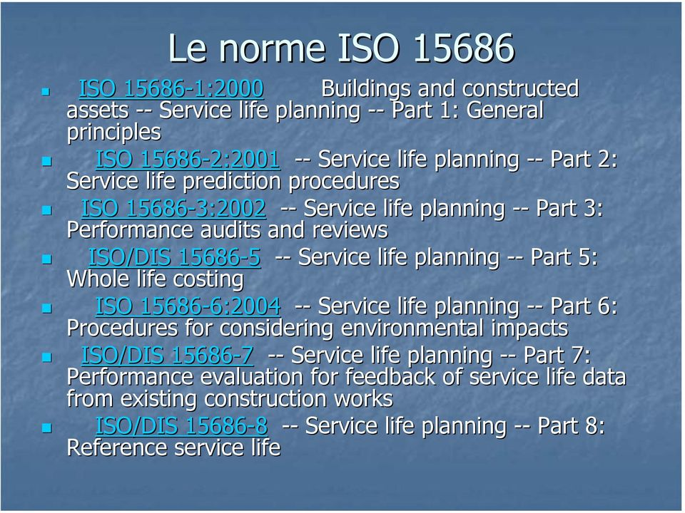 Part 5: Whole life costing ISO 15686-6:2004 6:2004 -- Service life planning -- Part 6: Procedures for considering environmental impacts ISO/DIS 15686-7 -- Service life