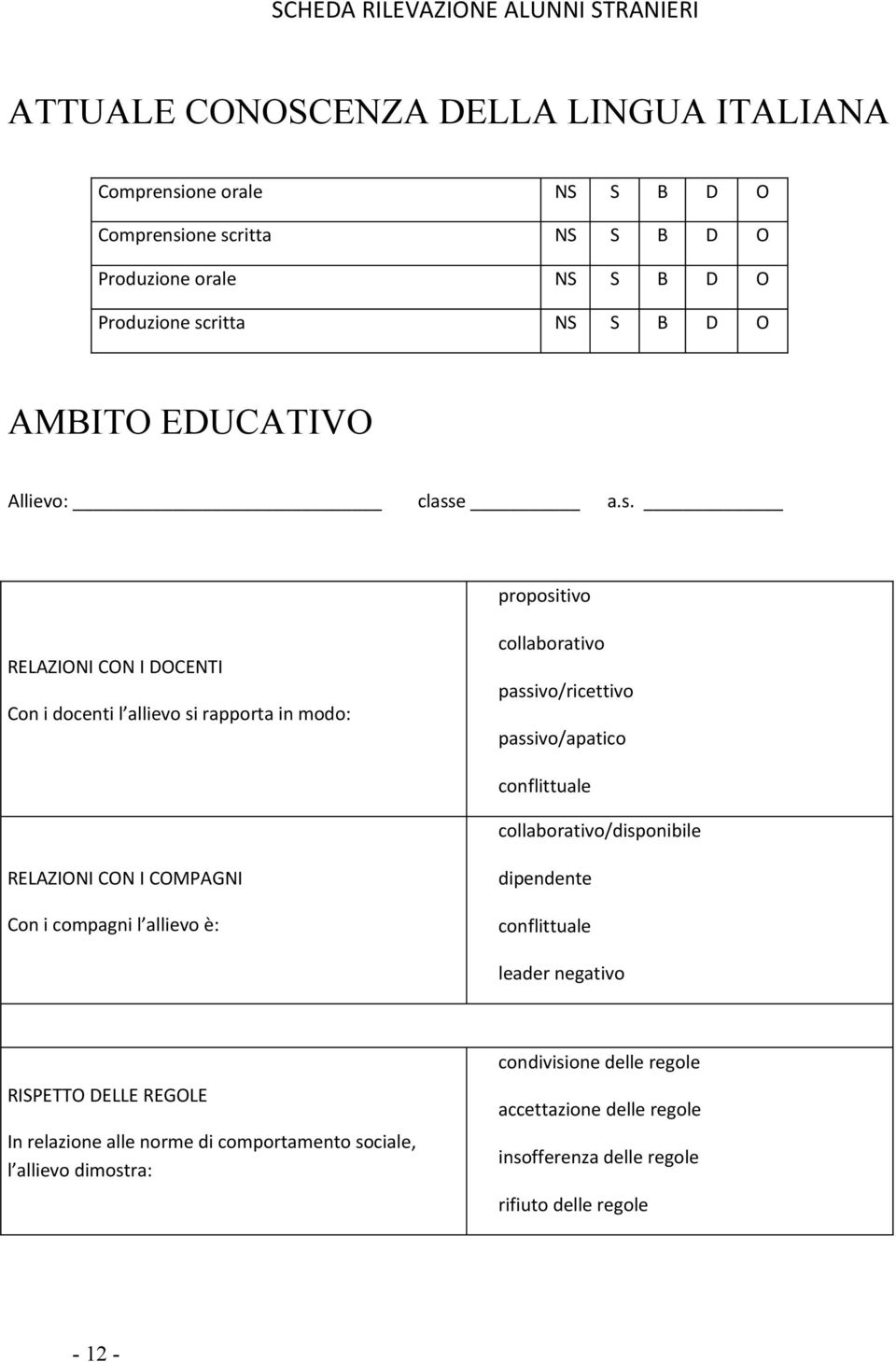 ritta NS S B D O AMBITO EDUCATIVO Allievo: class
