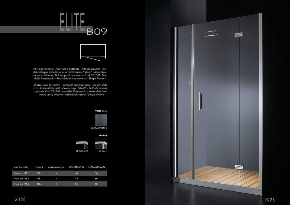 Shower box for niche - External opening door - Height 200 cm - Compatible with shower tray Steel - N.2 aluminium supports Cod.