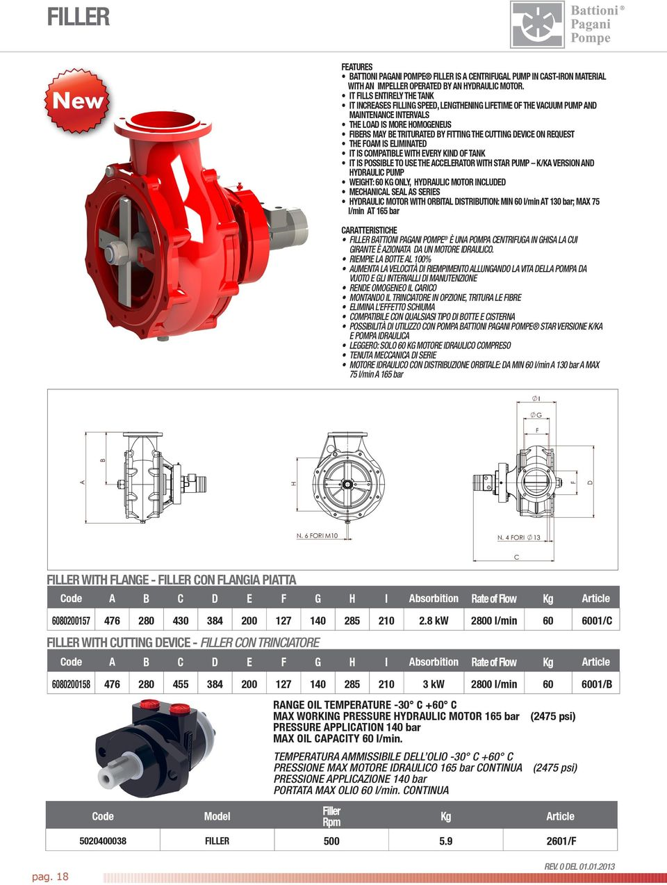 device on request The foam is eliminated It is compatible with every kind of tank It is possible to use the accelerator with STR pump K/K version and Hydraulic pump Weight: 60 Kg only, hydraulic