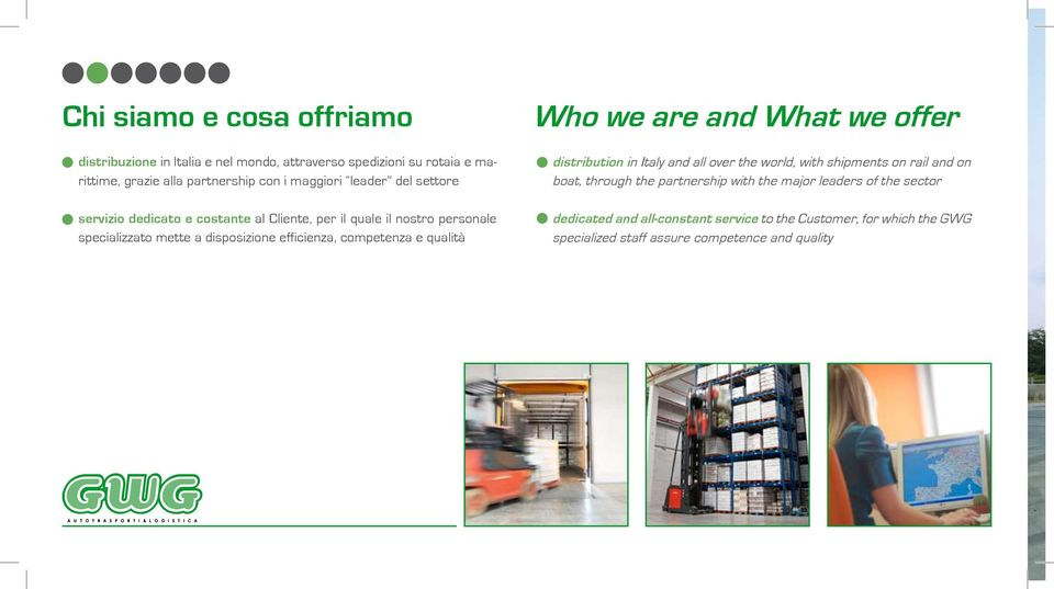 competenza e qualità Who we are and What we offer distribution in Italy and all over the world, with shipments on rail and on boat, through the