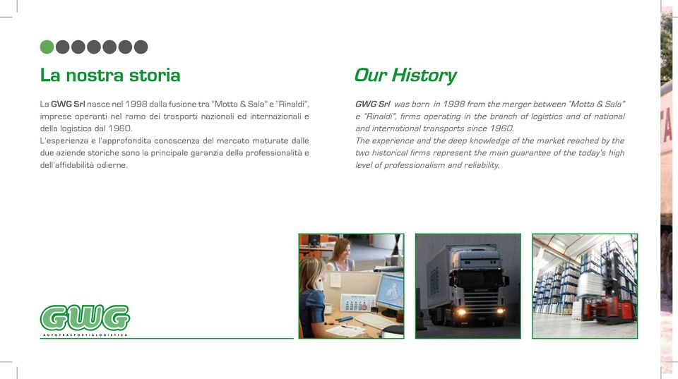 Our History GWG Srl was born in 1998 from the merger between Motta & Sala e Rinaldi, firms operating in the branch of logistics and of national and international transports