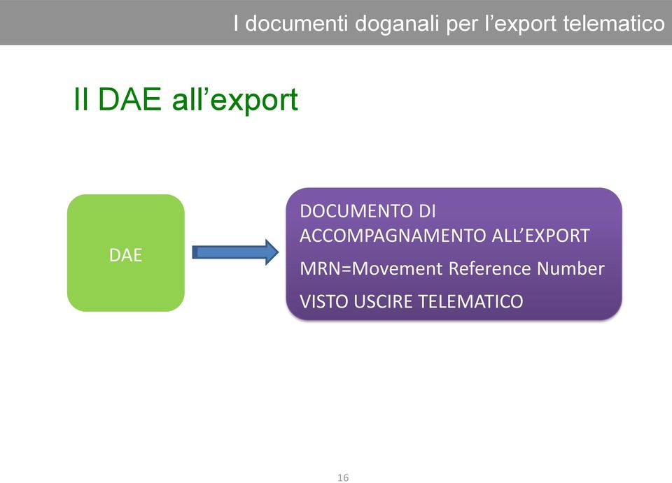 DOCUMENTO DI ACCOMPAGNAMENTO ALL EXPORT