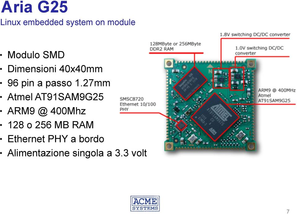 27mm Atmel AT91SAM9G25 ARM9 @ 400Mhz 128 o 256 MB