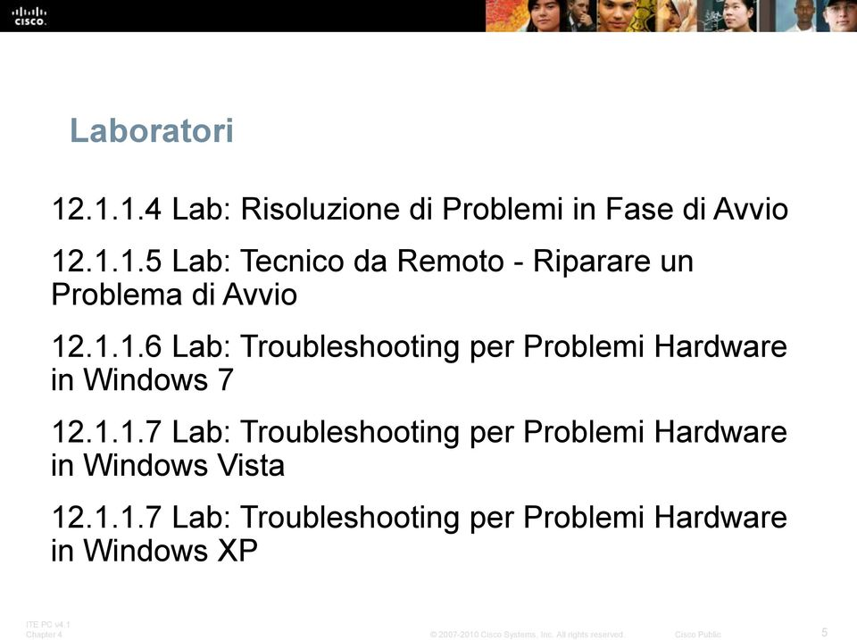 1.1.7 Lab: Troubleshooting per Problemi Hardware in Windows XP 5