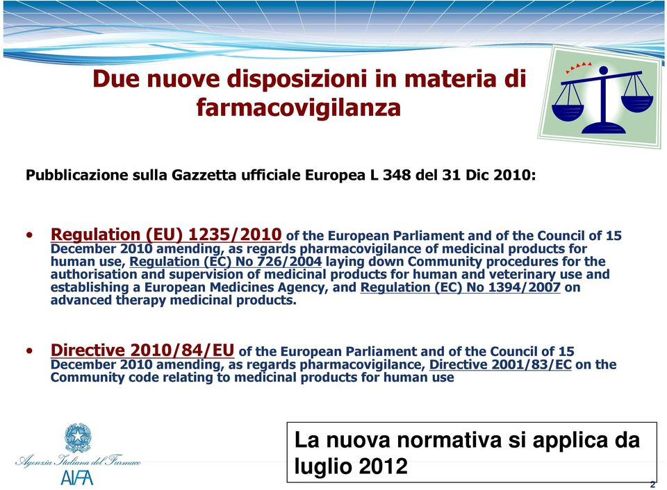 medicinal products for human and veterinary use and establishing a European Medicines Agency, and Regulation (EC) No 1394/2007 on advanced therapy medicinal products.