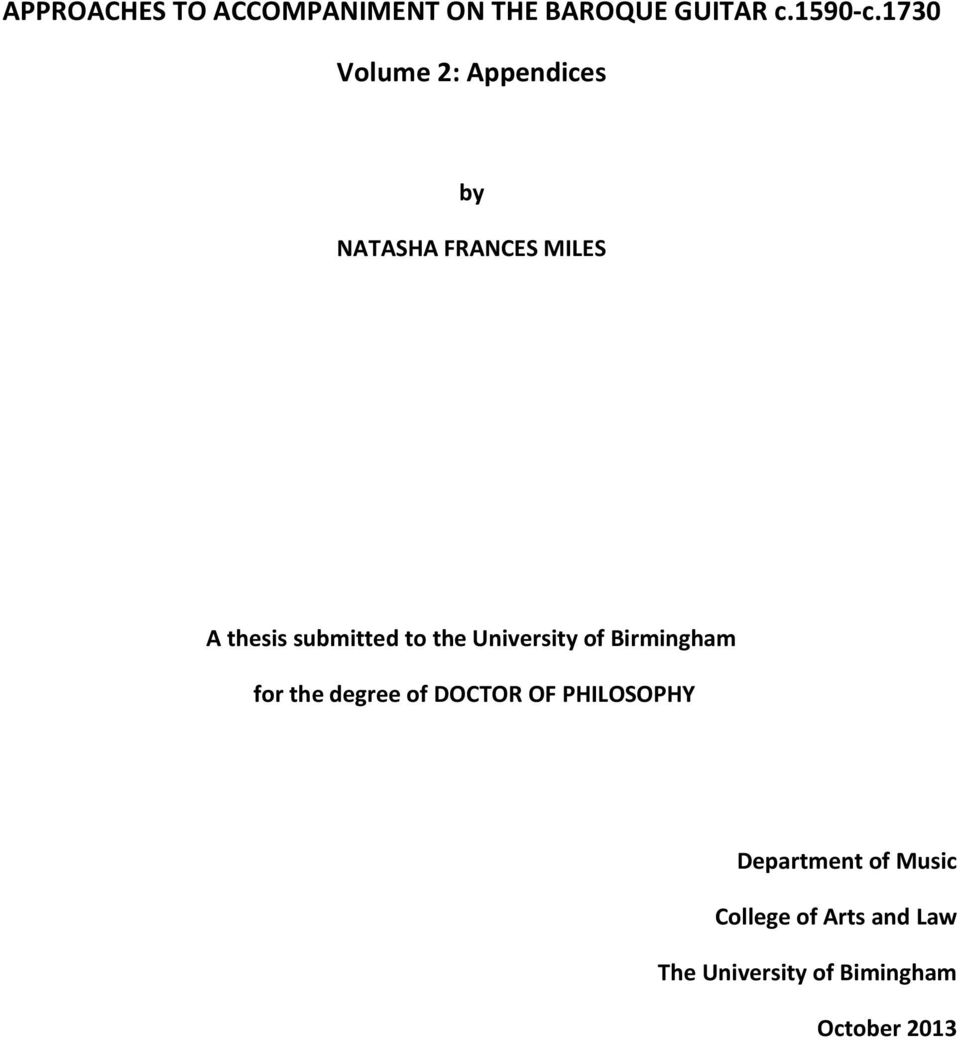 to the University of Birmingham for the degree of DOCTOR OF PHILOSOPHY