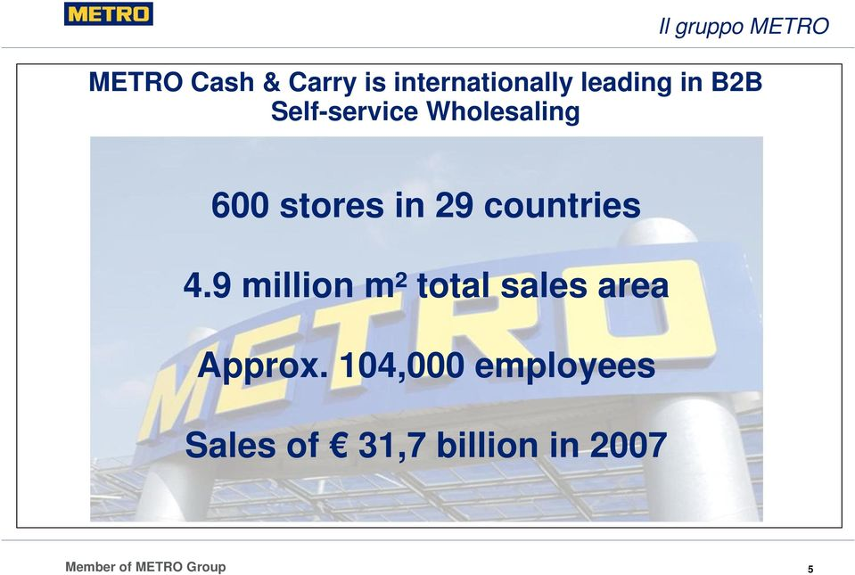 Wholesaling 600 stores in 29 countries 4.