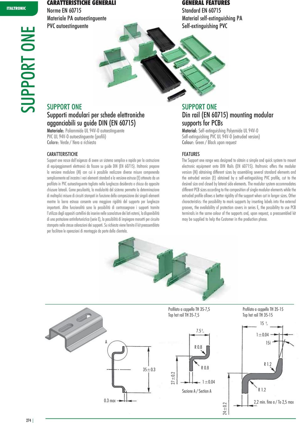 mounting modular supports for PCBs Material: Self-extinguishing Polyamide UL 94V-0 Self-extinguishing PVC UL 94V-0 (extruded version) Colour: Green / Black upon request CARATTERISTICHE Support one