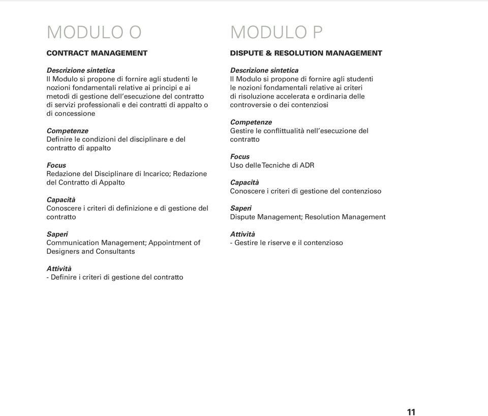 contratto Communication Management; Appointment of Designers and Consultants MODULO P DISPUTE & RESOLUTION MANAGEMENT Il Modulo si propone di fornire agli studenti le nozioni fondamentali relative ai