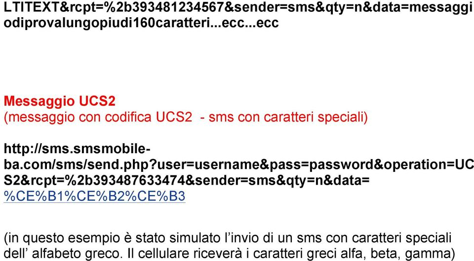user=username&pass=password&operation=uc S2&rcpt=%2b393487633474&sender=sms&qty=n&data= %CE%B1%CE%B2%CE%B3 (in questo