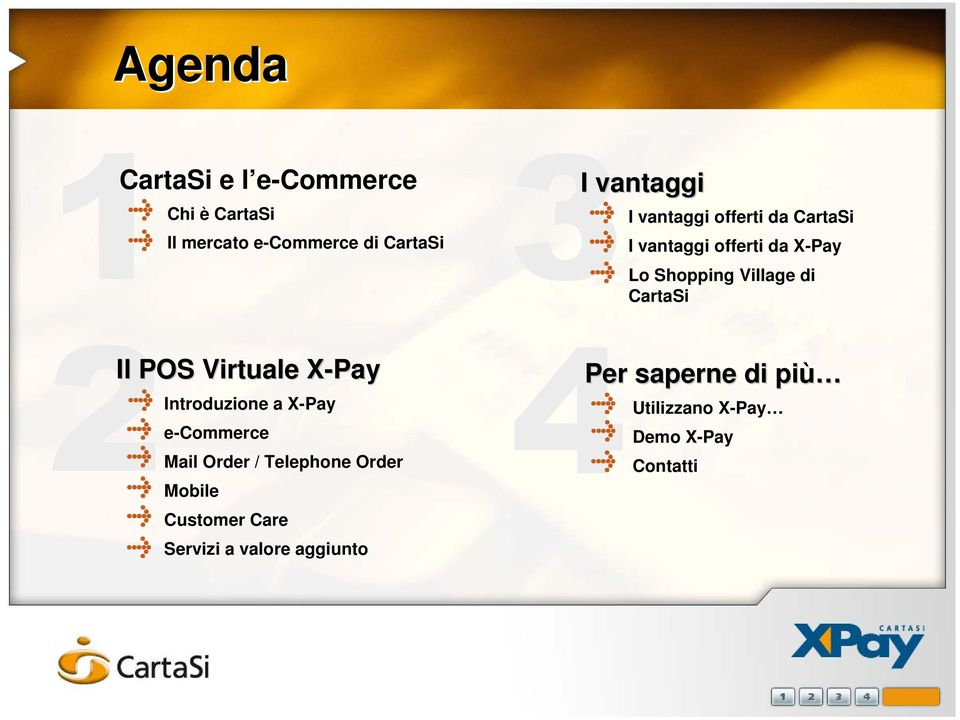 POS Virtuale X-Pay Introduzione a X-Pay e-commerce Mail Order / Telephone Order Mobile