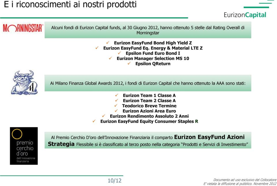 Energy & Material LTE Z Epsilon Fund Euro Bond I Eurizon Manager Selection MS 10 Epsilon QReturn Ai Milano Finanza Global Awards 2012, i fondi di Eurizon Capital che hanno ottenuto la AAA sono
