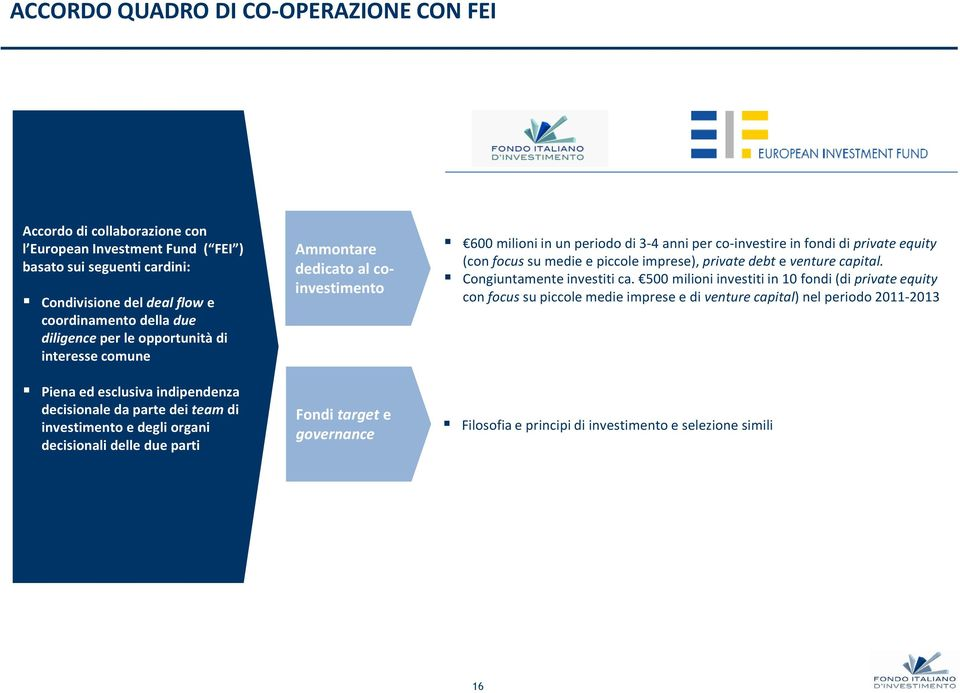 Fondi target e governance 600 milioni in un periodo di 3-4 anni per co-investire in fondi di private equity (con focus su medie e piccole imprese), private debt e venture capital.