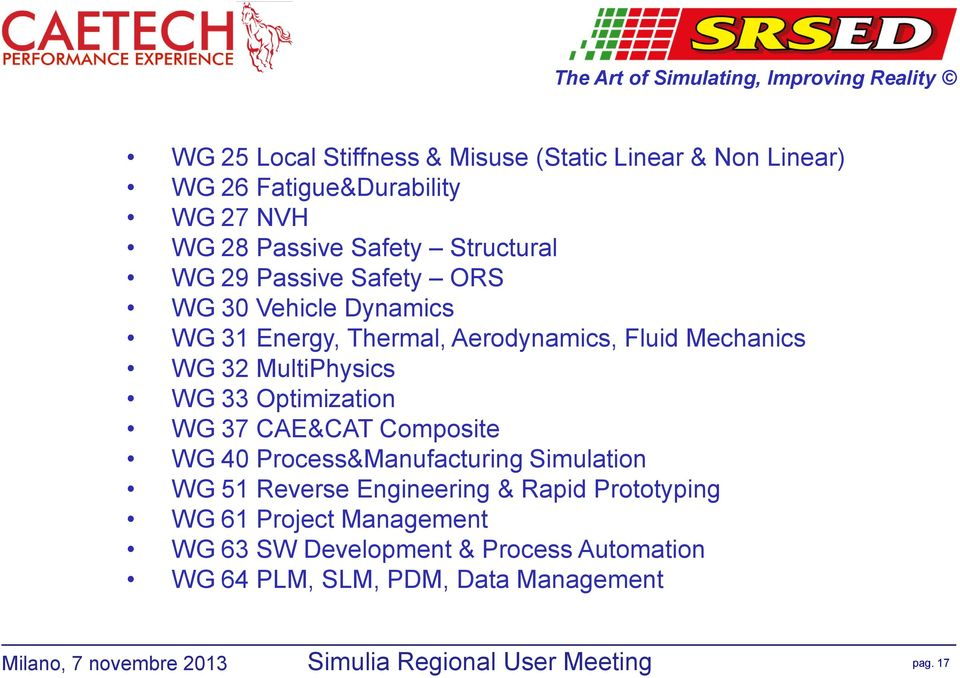 Mechanics WG 32 MultiPhysics WG 33 Optimization WG 37 CAE&CAT Composite WG 40 Process&Manufacturing Simulation WG 51 Reverse