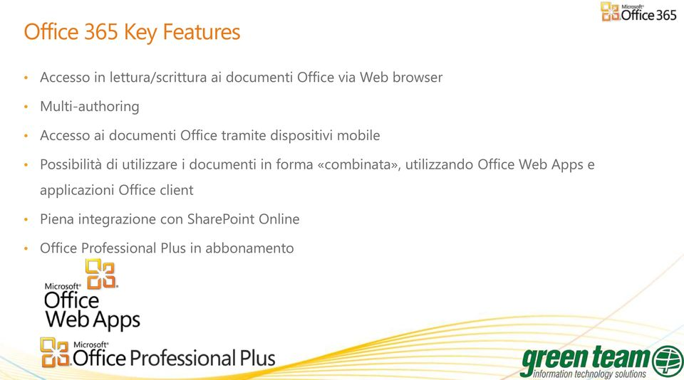 utilizzare i documenti in forma «combinata», utilizzando Office Web Apps e applicazioni