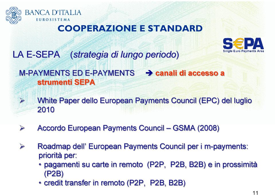 European Payments Council GSMA (2008) Roadmap dell European Payments Council per i m-payments: priorità