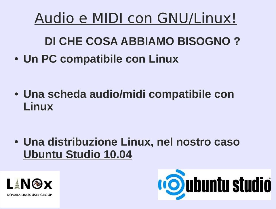 audio/midi compatibile con Linux Una