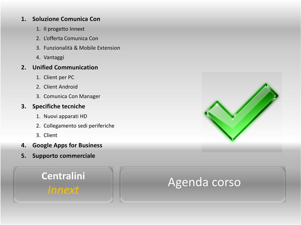 Client Android 3. Comunica Con Manager 3. Specifiche tecniche 1. Nuovi apparati HD 2.