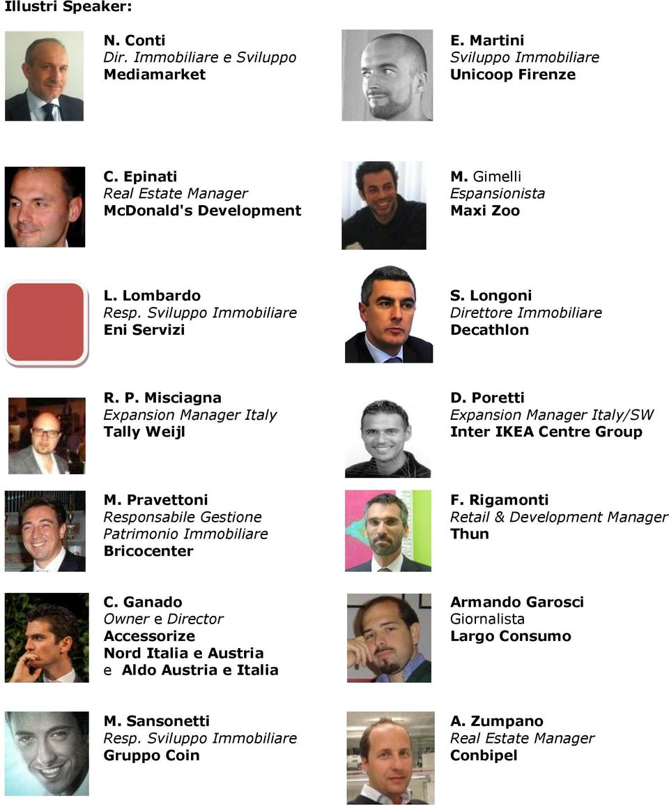 Poretti Expansion Manager Italy Expansion Manager Italy/SW Tally Weijl Inter IKEA Centre Group M. Pravettoni F.
