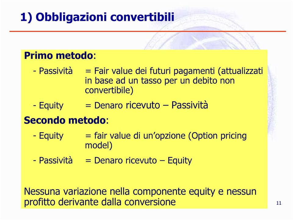 Passività Secondo metodo: - Equity = fair value di un opzione (Option pricing model) - Passività =