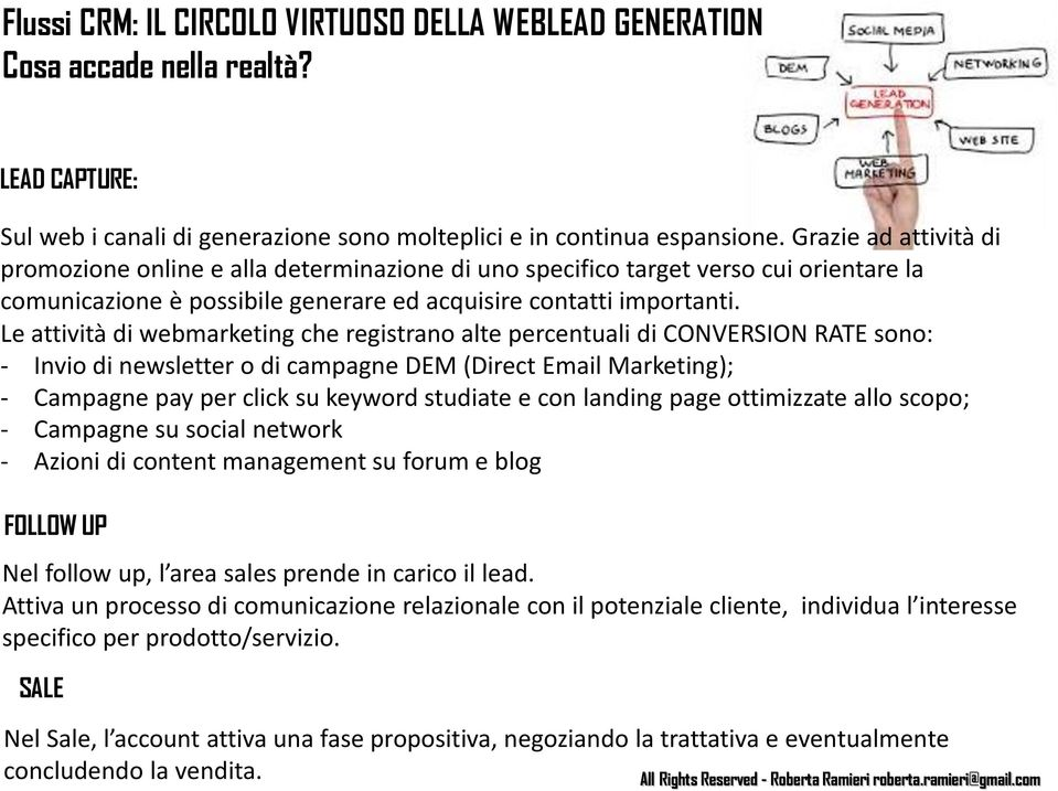 Le attività di webmarketing che registrano alte percentuali di CONVERSION RATE sono: - Invio di newsletter o di campagne DEM (Direct Email Marketing); - Campagne pay per click su keyword studiate e