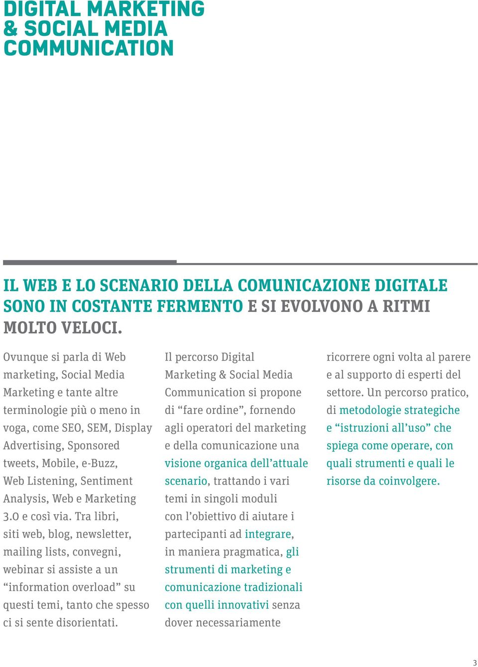 Analysis, Web e Marketing 3.0 e così via.
