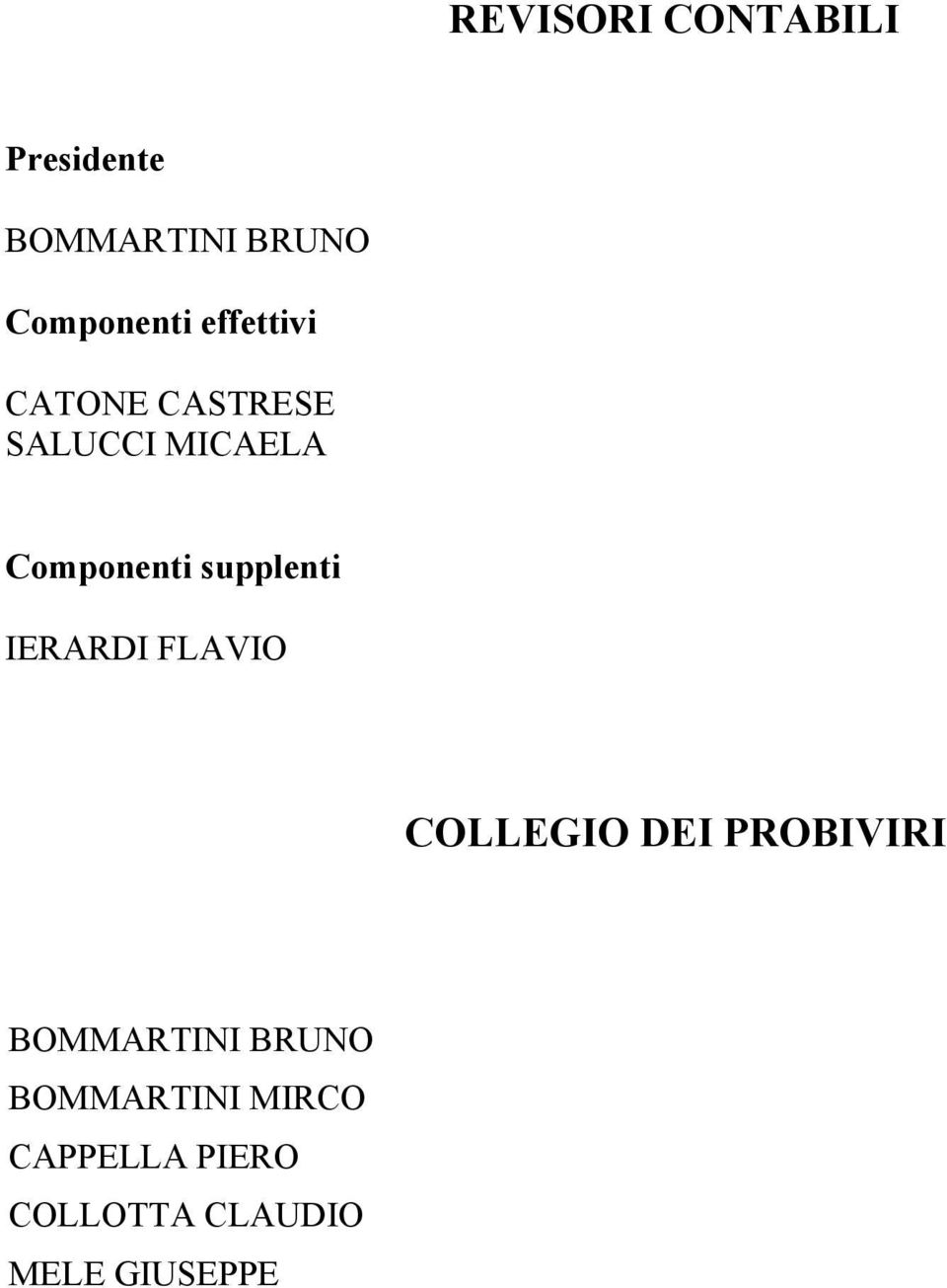 supplenti IERARDI FLAVIO COLLEGIO DEI OBIVIRI BOMMARTINI