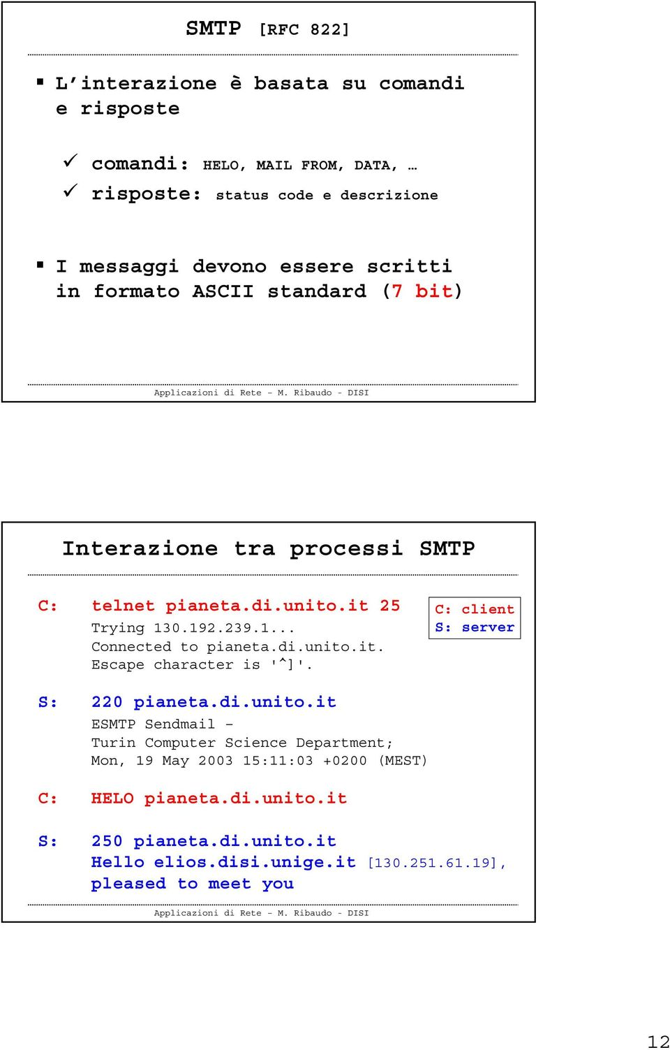di.unito.it. Escape character is '^]'. C: client S: S: 220 pianeta.di.unito.it ESMTP Sendmail Turin Computer Science Department; Mon, 19 May 2003 15:11:03 +0200 (MEST) C: HELO pianeta.