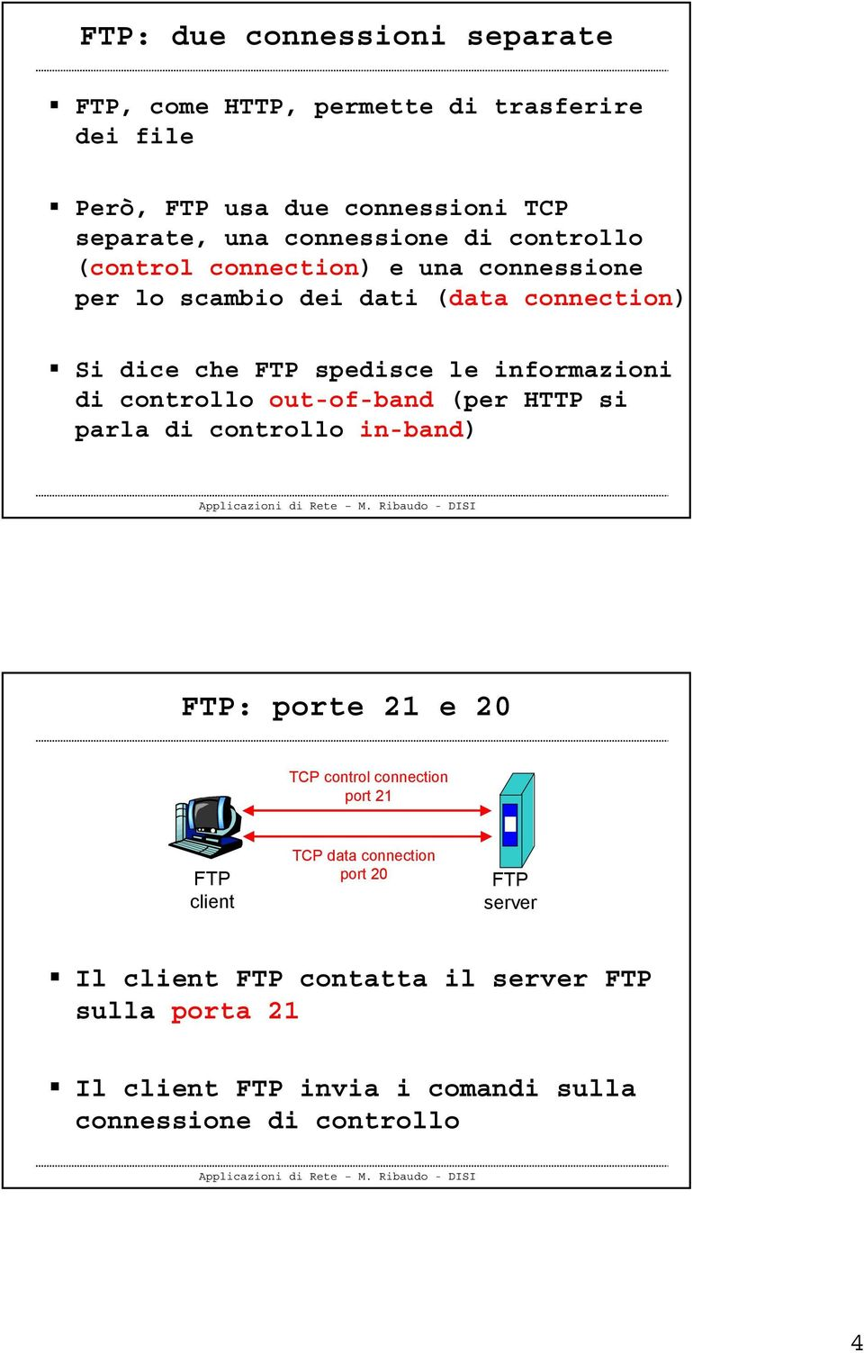 informazioni di controllo out-of-band (per HTTP si parla di controllo in-band) FTP: porte 21 e 20 TCP control connection port 21 FTP