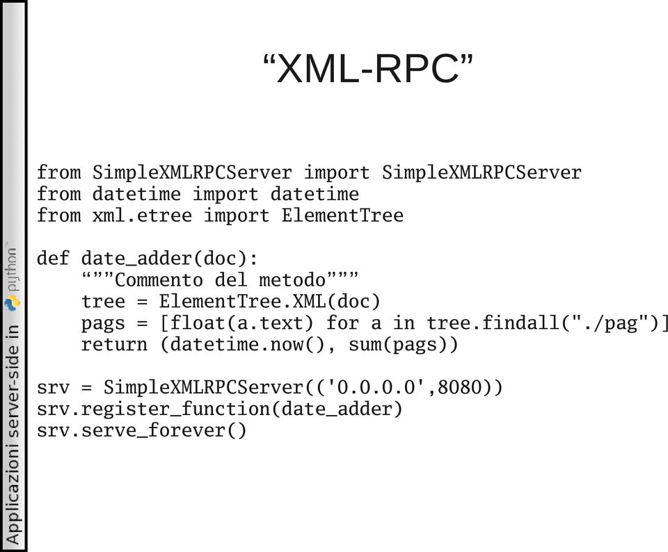 "XML(doc) pags = [float(a.text) for a in tree.findall(""./pag"")] return (datetime."