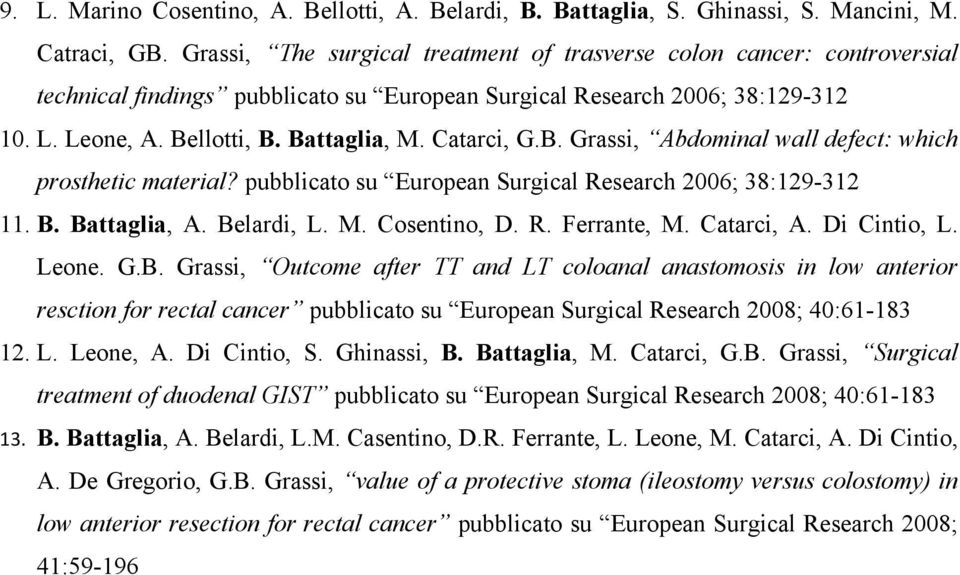 Catarci, G.B. Grassi, Abdominal wall defect: which prosthetic material? pubblicato su European Surgical Research 2006; 38:129-312 11. B. Battaglia, A. Belardi, L. M. Cosentino, D. R. Ferrante, M.