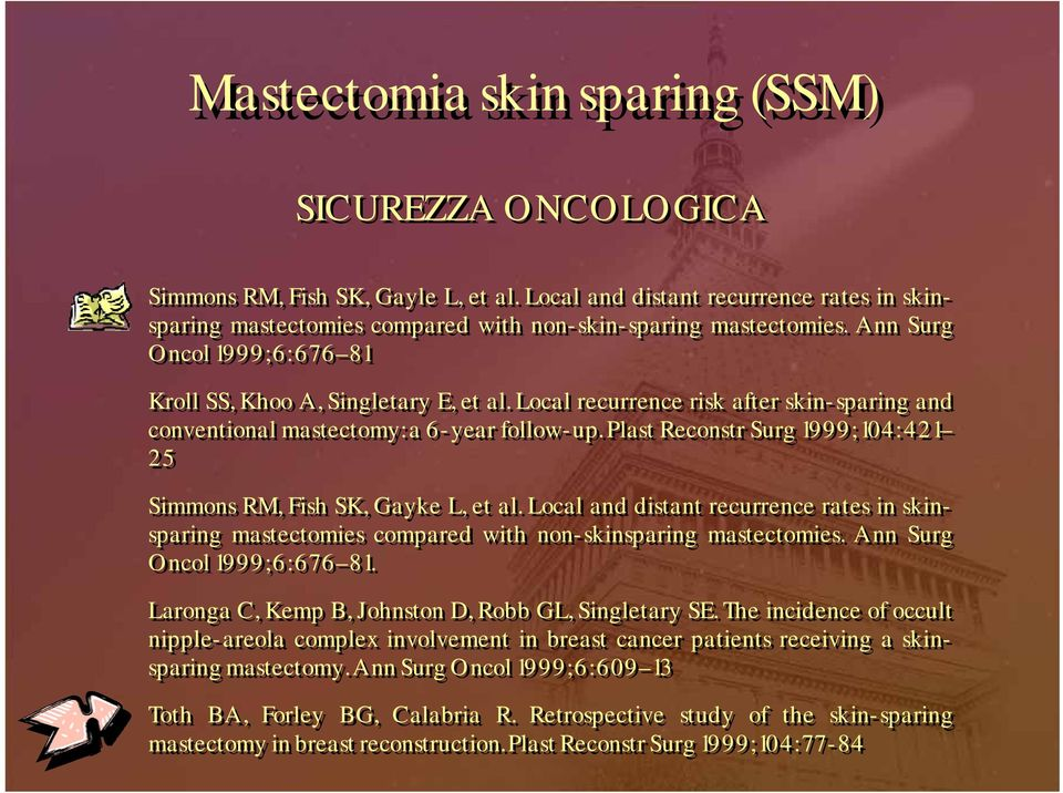 Plast Reconstr Surg 1999; 104: 421 25 Simmons RM, Fish SK, Gayke L, et al. Local and distant recurrence rates in skinsparing mastectomies compared with non-skinsparing mastectomies.
