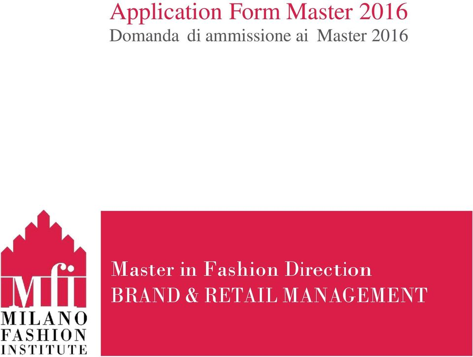 Master 2016 Master in Fashion