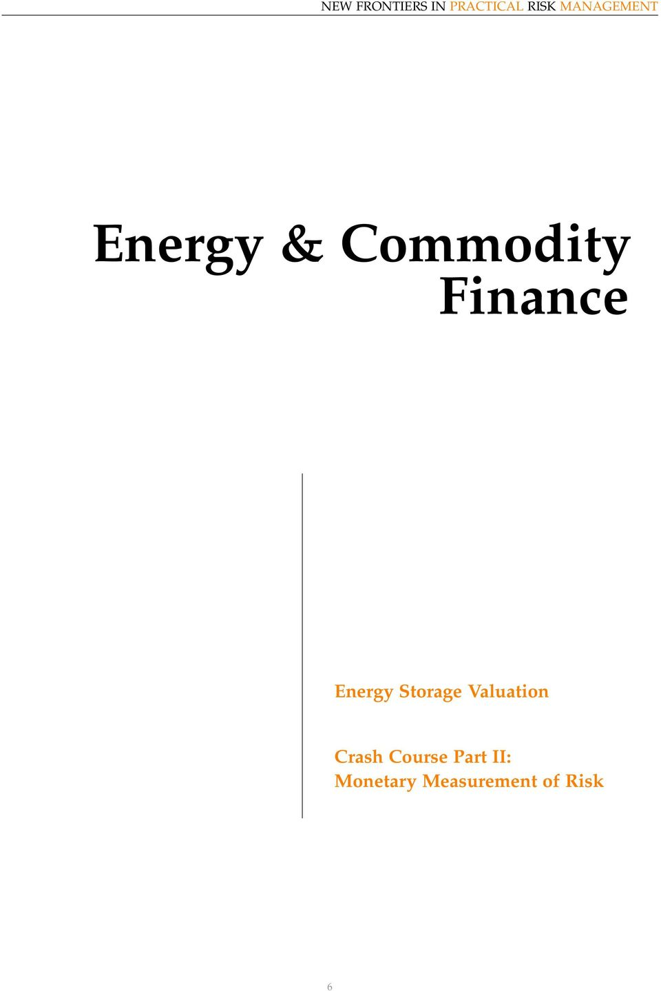 Finance Energy Storage Valuation