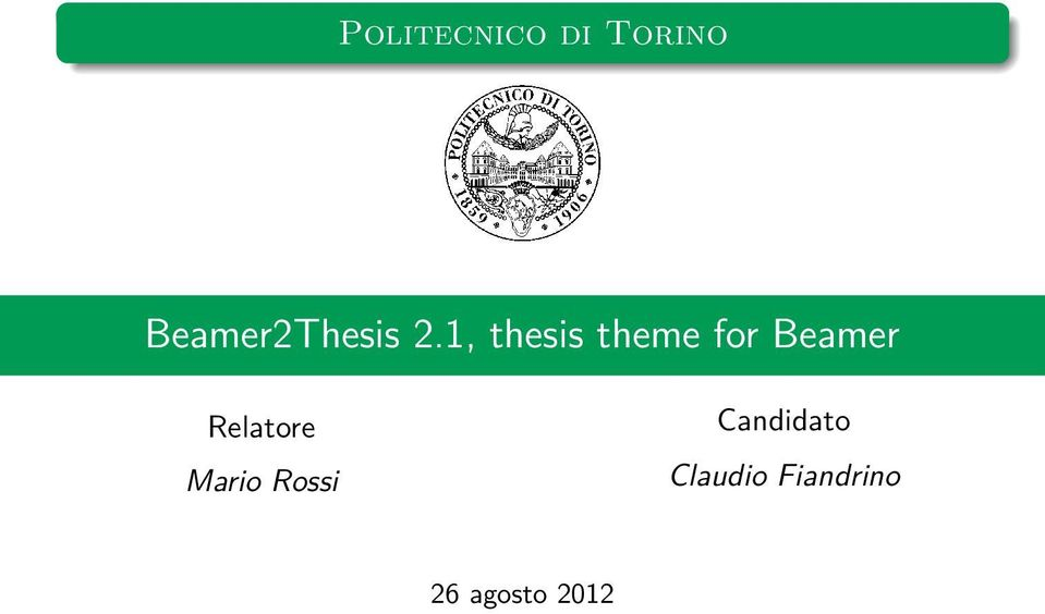 for Beamer Relatore Mario Rossi