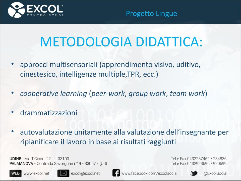 ) cooperative learning (peer-work, group work, team work) drammatizzazioni