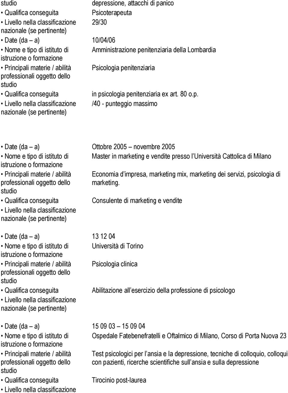 Cattolica di Milano Principali materie / abilità Economia d impresa, marketing mix, marketing dei servizi, psicologia di marketing.