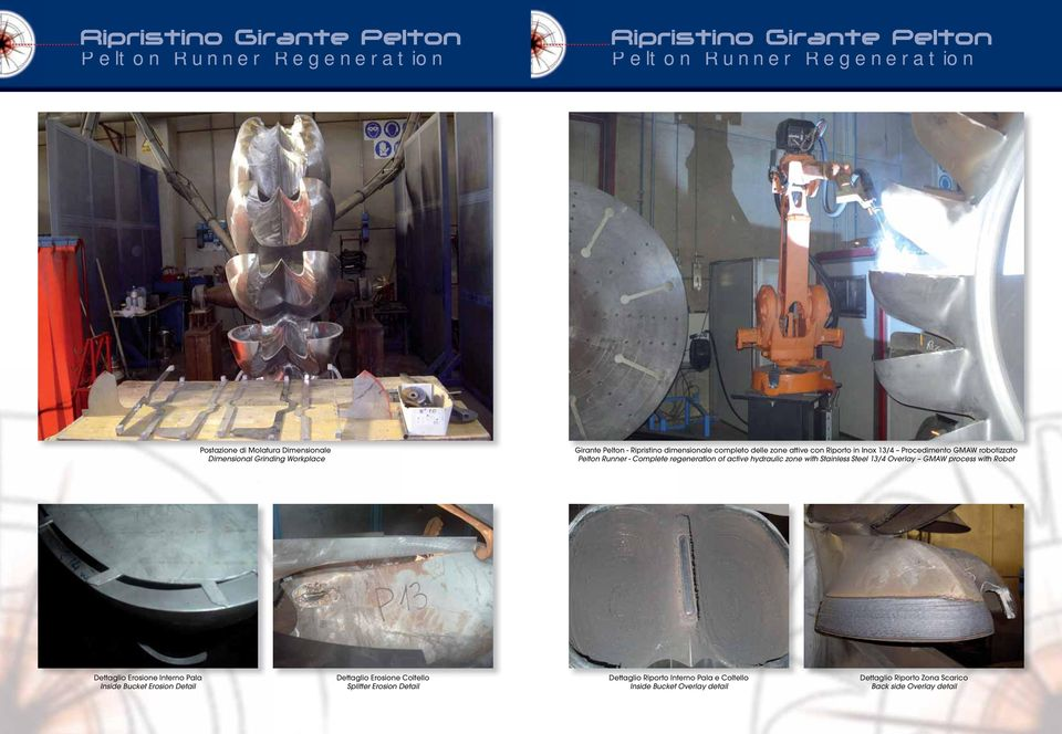 hydraulic zone with Stainless Steel 13/4 Overlay GMAW process with Robot Dettaglio Erosione Interno Pala Inside Bucket Erosion Detail Dettaglio