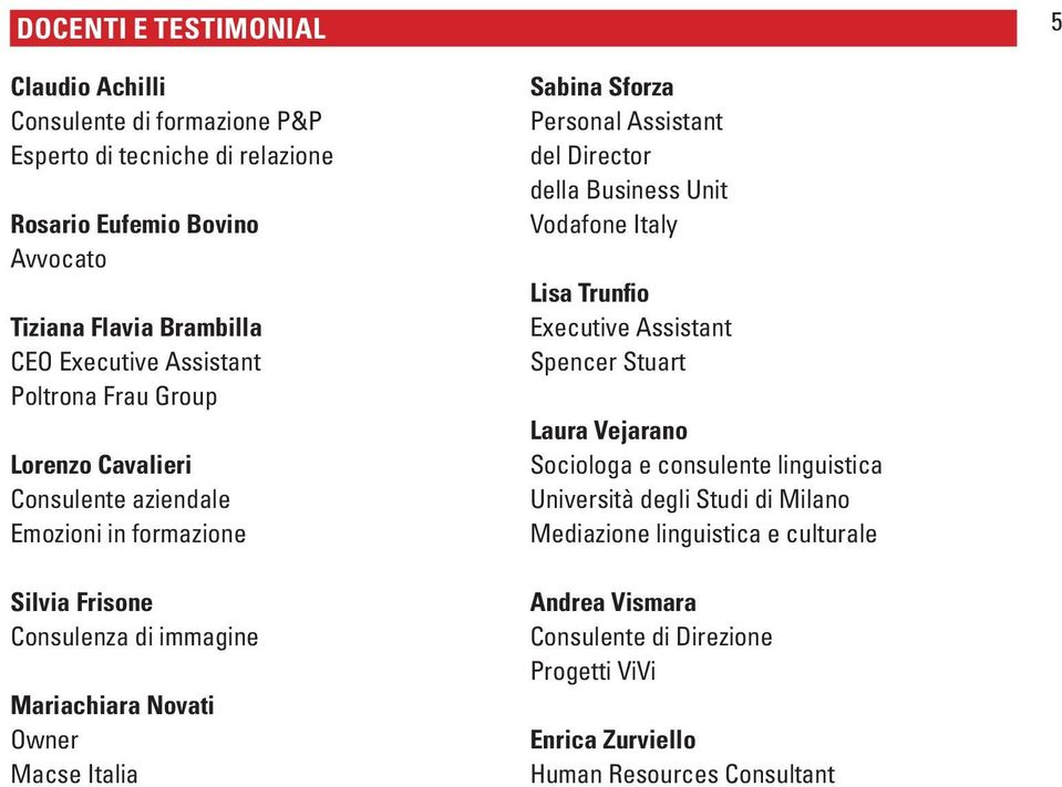 Italia Sabina Sforza Personal Assistant del Director della Business Unit Vodafone Italy Lisa Trunfio Executive Assistant Spencer Stuart Laura Vejarano Sociologa e