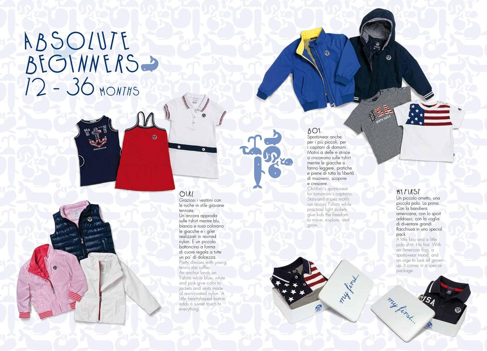 Pretty dresses with young tennis star ruffles. An anchor lands on T-shirts while blue, white and pink give color to jackets and vests made of resin-coated nylon.