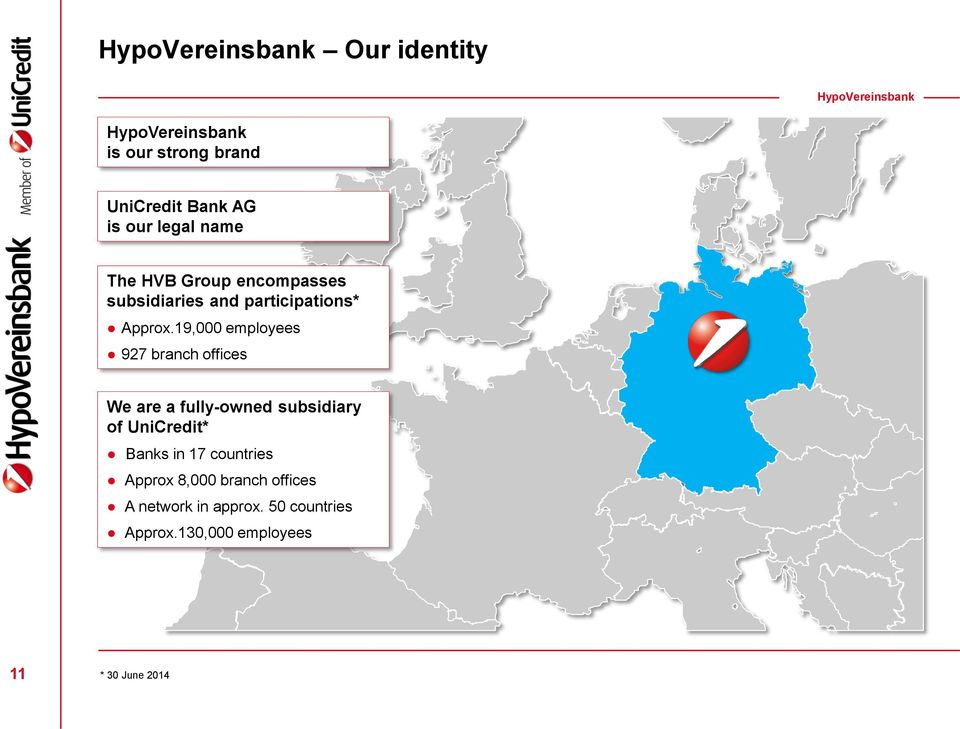 19,000 employees 927 branch offices We are a fully-owned subsidiary of UniCredit* Banks in 17