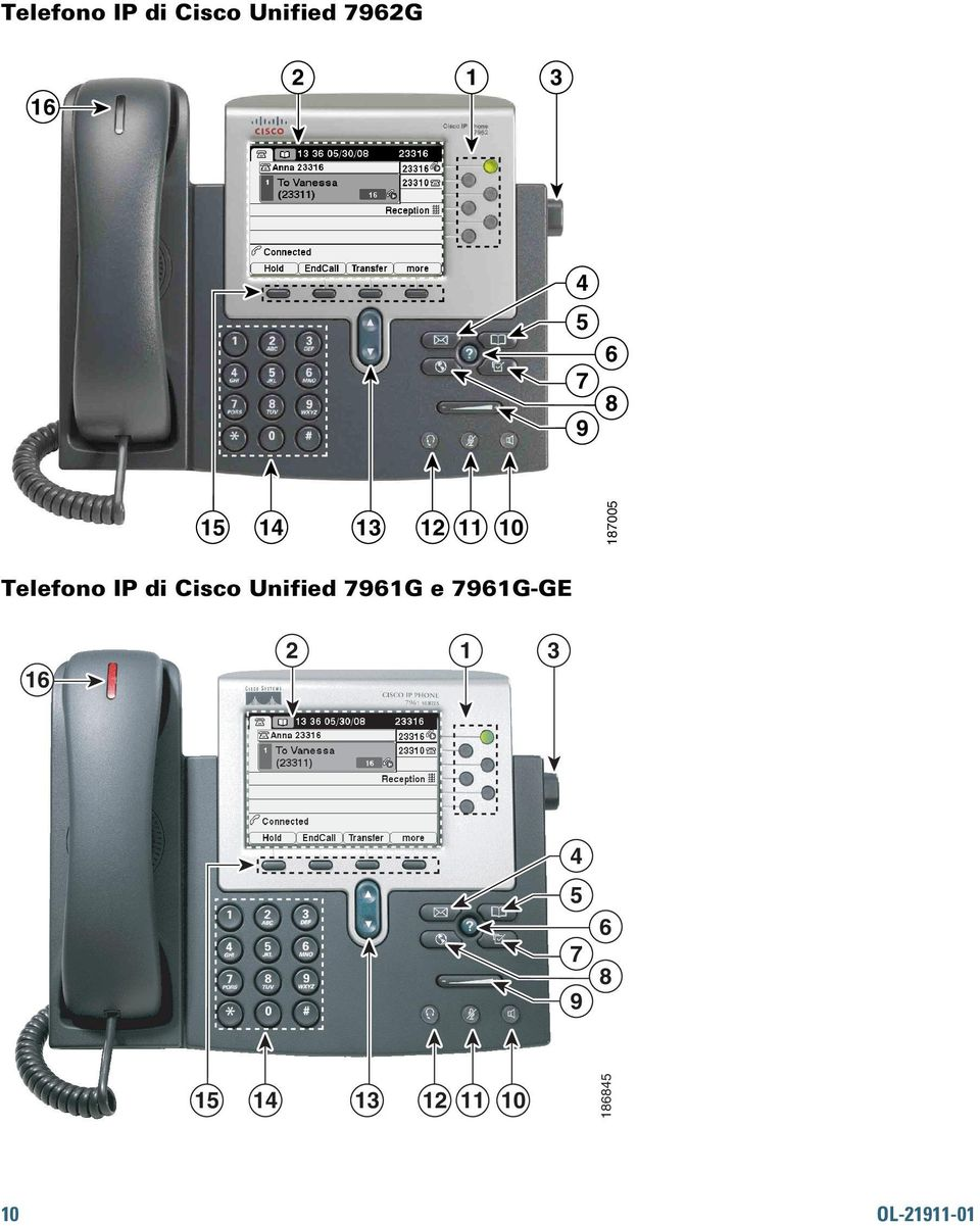 Cisco Unified 7961G e 7961G-GE 16 2 1 3 1 4 5 7