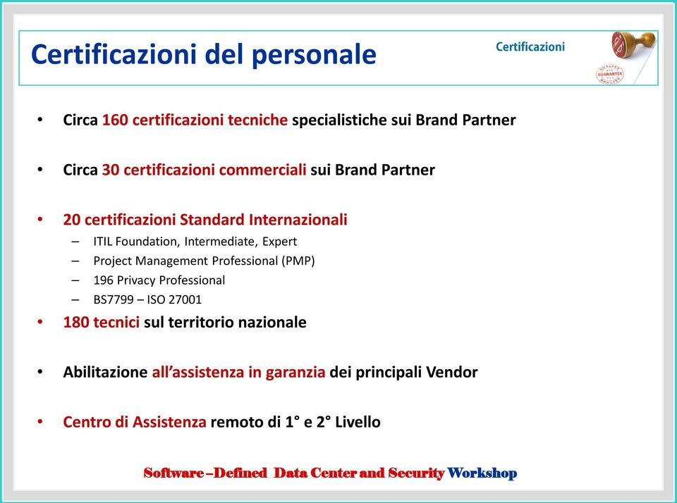 Intermediate, Expert Project Management Professional (PMP) 196 Privacy Professional BS7799 ISO 27001 180 tecnici
