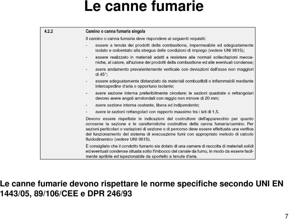 norme specifiche secondo UNI